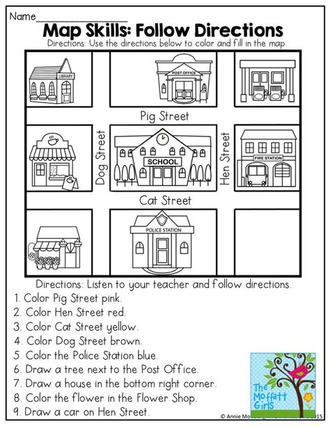 free printable following directions activities map skills worksheets for 3rd grade map reading