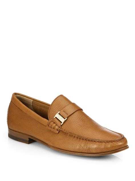 moccasins loafers for lyst bally side buckle moccasin loafers in brown for