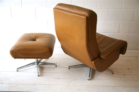 Leather Swivel Chair And Stool by 1970s Leather Swivel Chair And Stool And Chrome