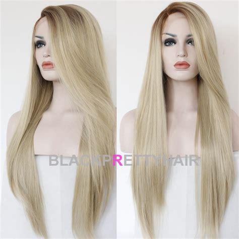 womans wig blonde medium long straight hair wig black fashion long ombre blonde straight hair wig dark root