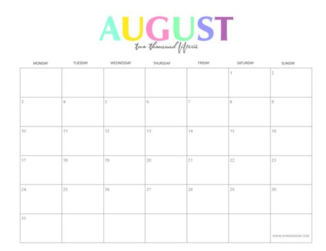 printable planner august 2015 the colorful 2015 monthly calendars by shiningmom com are