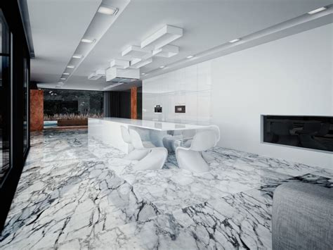 White marble flooring design, kitchens with marble floors