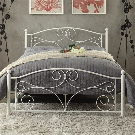 Wrought Iron Bed With Metal Slat System Matte White Powder Wrought Iron Bed