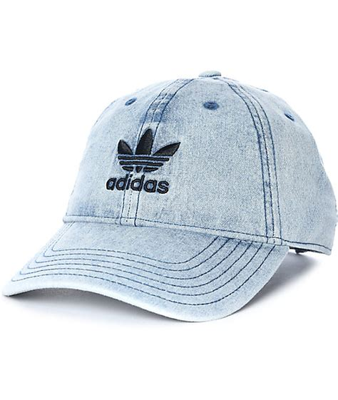 Denim Hat adidas trefoil denim baseball hat