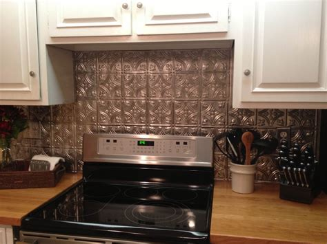 picture of backsplash kitchen cool diy faux tin kitchen backsplash with vase top 12