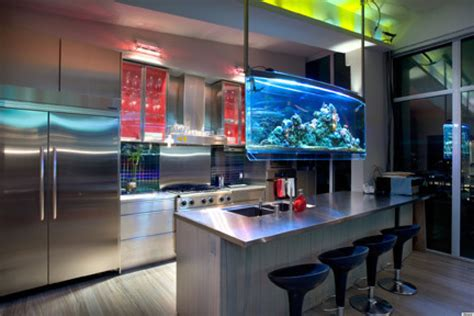 modern aquarium kitchen with a strong visual impact by 8 cool home aquariums that are completely helping us de