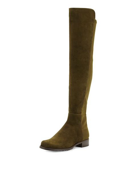 The Knee Boot by Stuart Weitzman 50 50 Suede The Knee Boot In Green Lyst