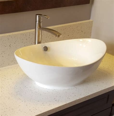 Vessel Sink Countertops Bv105 White Scoop Top Oval Vessel Sink Mounted On Iced
