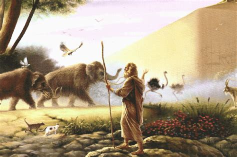 Creationevolution Noah S Ark While Animals Are Going To The Ark Drawing With Color