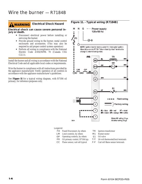 wire the burner r7184b beckett cf1400 user manual page 14