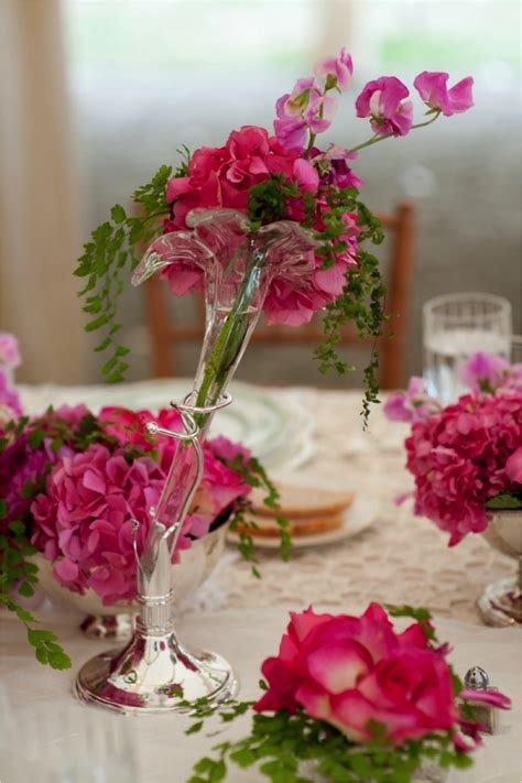Whimsical Pink And Purple Wedding Reception Centerpieces Pink And Purple Centerpieces