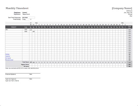Monthly Timesheet Template For Excel Monthly Timesheet Template Excel