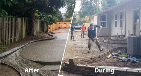 concrete backyard makeover concrete and paver patio installation in olympia and
