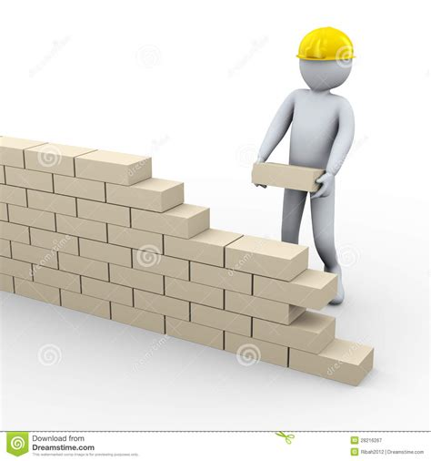 building a wall 3d building brick wall stock illustration image of