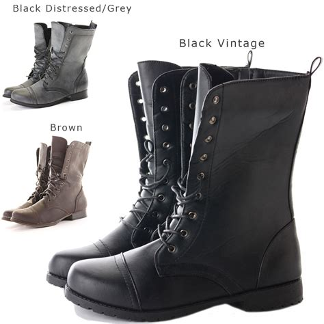 womans combat boots womens combat style army worker ankle boots flat