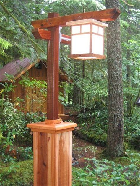 craftsman l post with copper light yard ideas