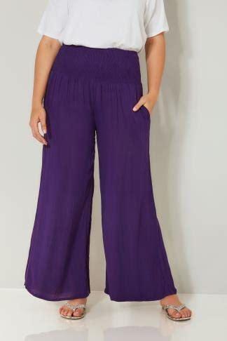 pantalon large violet avec taille ressérée
