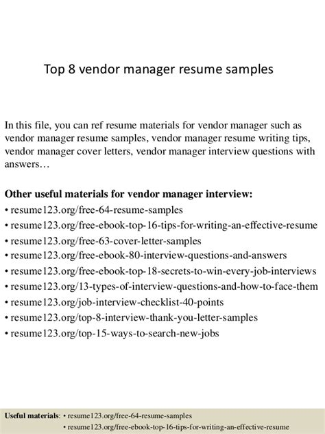 Resume Sles Vendor Management Top 8 Vendor Manager Resume Sles