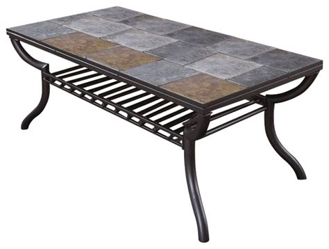 Antigo Coffee Table Antigo Slate Tile Rectangular Coffee Table In Black Transitional Coffee Tables By