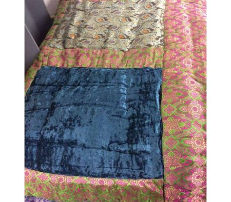 blue green and purple satin brocade and velvet patchwork