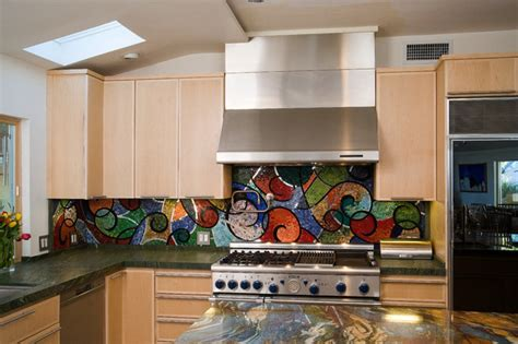 colorful kitchens glass mosaic backsplash kitchen los
