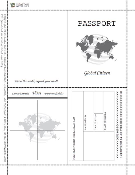 passport photo word template free printable passport book when image results