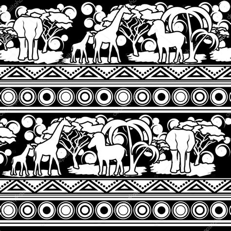 african vector pattern eps pattern in the african style in black and white stock
