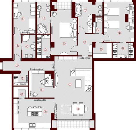 planimetria appartamento progetto 200 mq architettura a domicilio 174