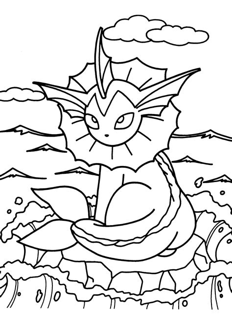 pokemon vaporeon coloring pages coloring book pikachu pokemon vaporeon coloring pages 363122