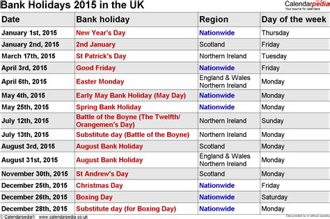 printable calendar 2015 uk with bank holidays 2015 calendar with bank holidays for england printable