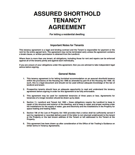 free tenancy agreement template wonderful shorthold tenancy agreement template photos