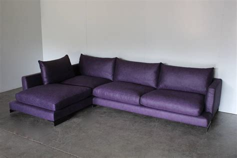 Purple Couches For Sale by Flexform Quot Island Quot L Shape Sofa In Purple And Black Linen For Sale At 1stdibs