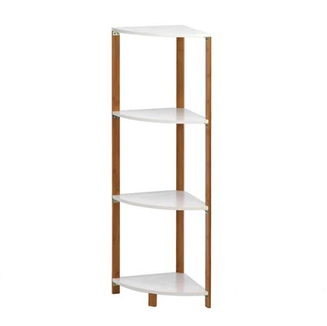 bamboo sleek frame corner shelf display stand white