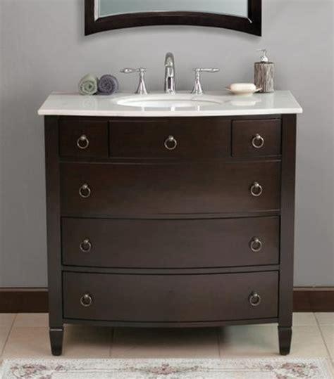 "Virtu USA 36"" Venice   Espresso   White Marble Single Sink"