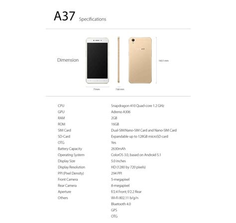 Oppo A37 Neo 9 Ram 2gb Memory 16gb Gold Gold mobile2go oppo a37 neo 9 16gb rom 2gb ram original oppo malaysia set