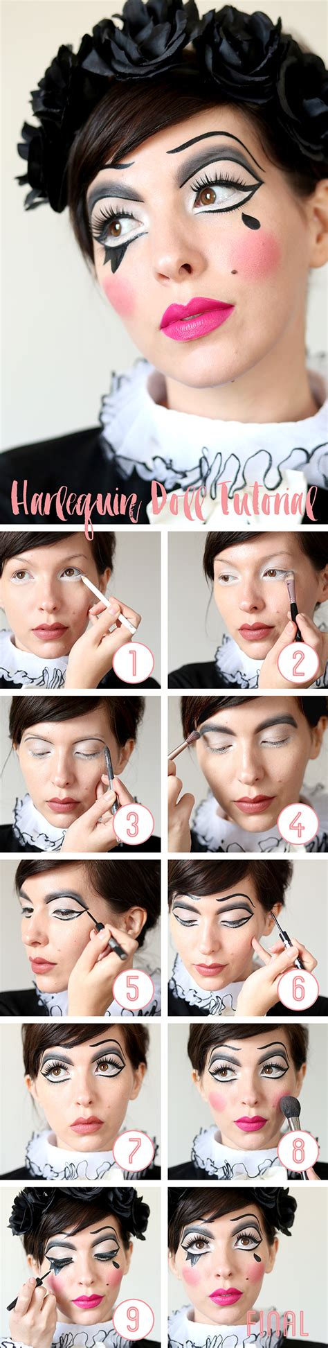 doll tutorials makeup tutorial harlequin doll
