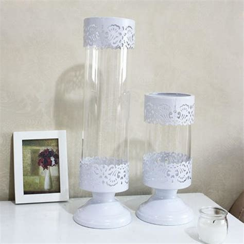 Glass Candle Holders Centerpieces Wholesale Free Shipping White Iron Glass Candle