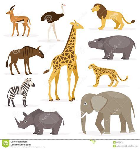 Set Zavana by Set Savanna Animals Vector Illustration Stock Vector