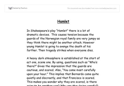 Hamlet Essay Introduction by Discussing Dramatic Devices In Hamlet Gcse Marked By Teachers