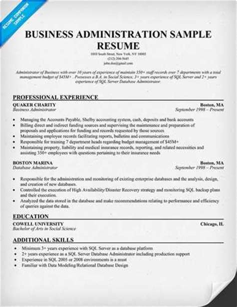 business administration resume objective sle business administration resume