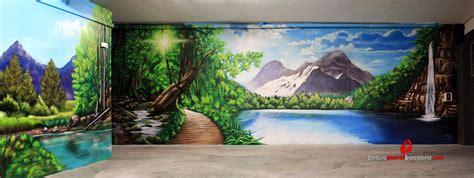 3d mural paisaje 3d mural bosque pintura mural barcelona mateo