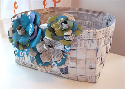 Basket With Paper - woven newspaper basket with paper flowers flickr photo