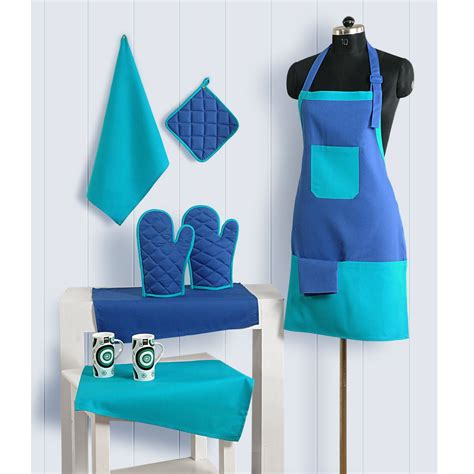 Kitchen Apron Designs 8pc Kitchen Linen Set Apron Oven Gloves Plate Holder Tea Towels Ebay