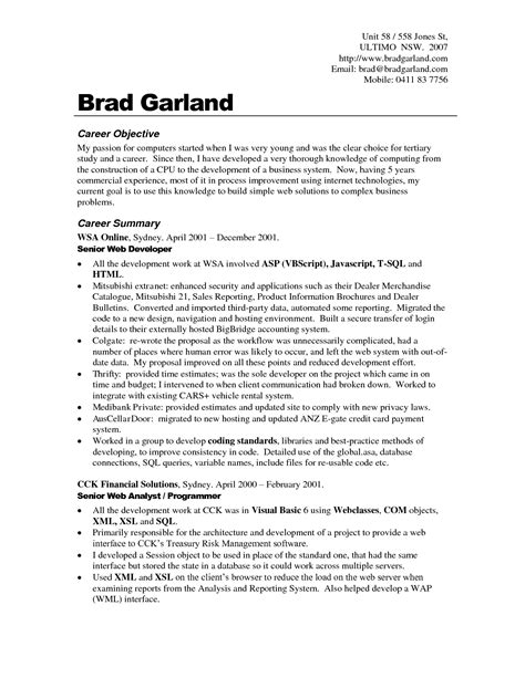 career objective resume objectives exles best templateresume objective