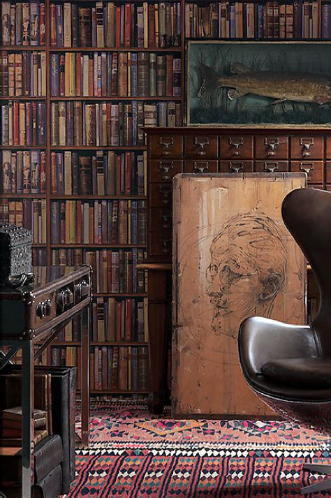 Wallpapers Designs For Home Interiors by Library Wallpaper Trendey