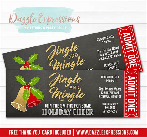 christmas party ticket template printable jingle and mingle ticket invitation green and gold