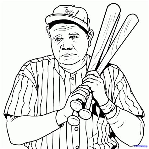how to draw babe ruth step by step sports pop culture