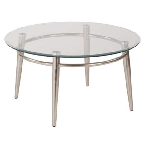 Brushed Nickel Table L by Ave Six 30 In L Clear Glass Top Brushed Nickel