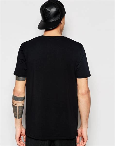 Asos Printed T Shirt Mens by Lyst Asos Longline T Shirt With Numeral Back Print In Black For