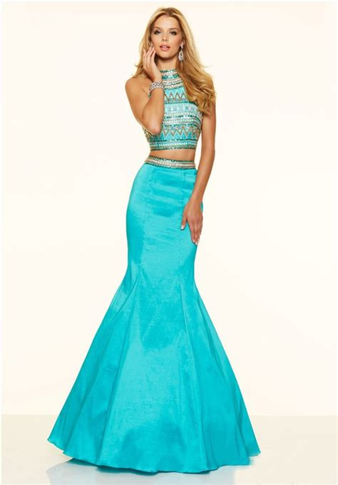 Dc Gaun Mermaid mermaid high neck two turquoise taffeta beaded prom dress turquoise prom dress